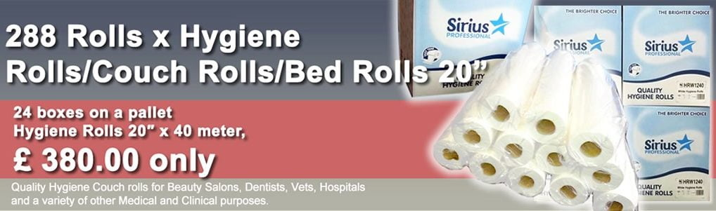 288 Rolls x Hygiene Rolls/Couch Rolls/Bed Rolls 20″ – (24 boxes on a pallet)