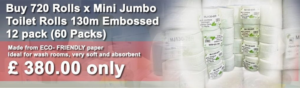 720 Rolls x Mini Jumbo Toilet Rolls – 130m Embossed – 12 pack (60 Packs)