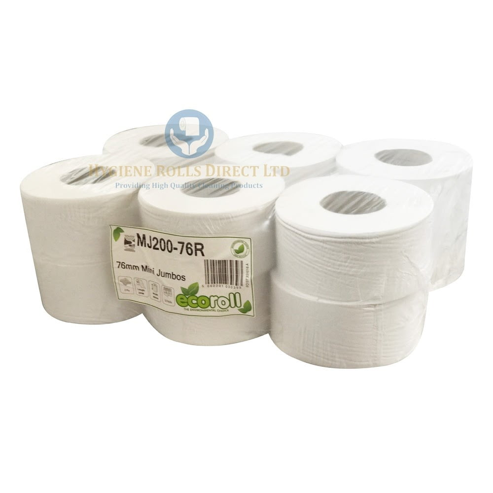 Mini Jumbo Toilet Roll 200M - 2PLY - Hygiene Rolls Direct