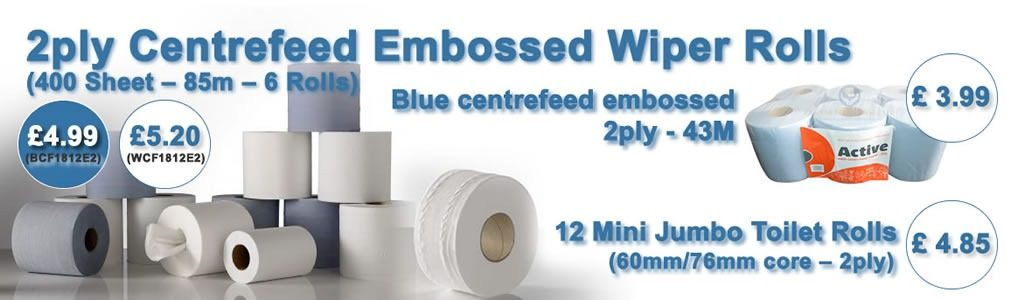 2ply Centrefeed Embossed Wiper Rolls
